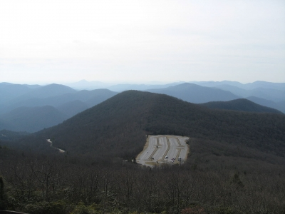 View of Brasstown Bald parking lot from summit. Photo by wiki.