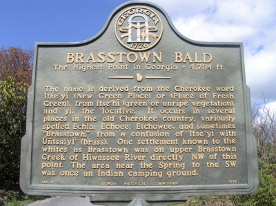 This state historical marker is located on the hiking trail near the summit of Brasstown Bald. Photo by GLadner/wiki.