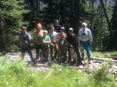 Volunteers from various trail user groups finish new water crossing ( (on the nearby Bear Valley High Trail #6178). Photo by Marc Landblom.
