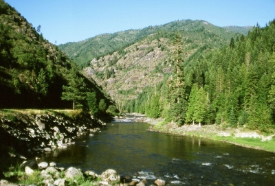 Scenic view of the Lochsa River in the Clearwater Forest. Photo by Idaho Travel Council.