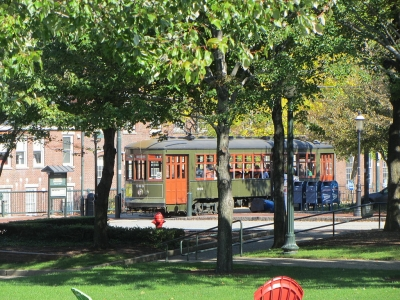 Streetcar in Lowell National Historic Park. Photo by David Wilson wiki.