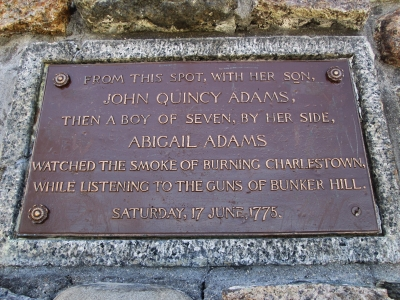 Plaque, Abigail Adams Cairn, Quincy, Mass. Photo by Valerie A. Russo.