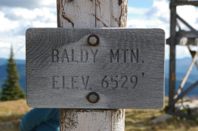 Baldy Mountain Elevation sign. Photo by Wade Moats/USFS.