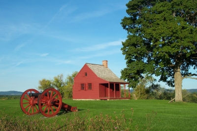 Farmhouse that served as a mid-level headquarters building during battles. Photo by NPS.