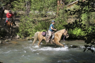 Crossing Whychus Creek, on the Metolius-Windigo Trail. Photo by Kim McCarrel.