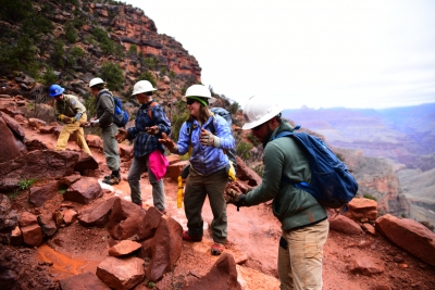 Crew members from the American Conservation Experience working on cyclical trail maintenance. Photo by Jessica Plance.