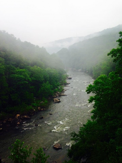Rapids in the mist. Photo by Mary Knutty.
