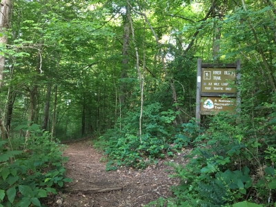Entrance to the River Bluff Trail. Photo by Donna Kridelbaugh.