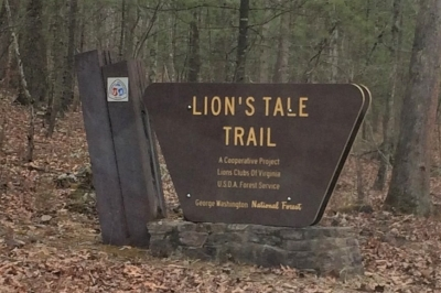 Trailhead sign with NRT logo. Photo by Lions Club: Basye-Bryce Mtn.