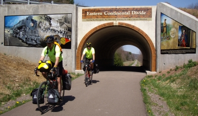 The Great Allegheny Passage crosses the eastern continental divide as it passes under a road. Photo by Mary Shaw.