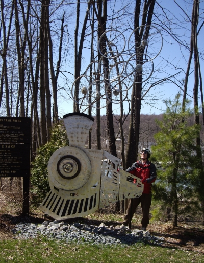 The Rockwood trailhead features this sculpture celebrating the railroad grade conversion! Photo by Mary Shaw.