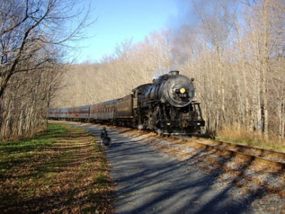 The GAP shares the rail-bed with a Western Maryland Scenic Railroad steam train. Photo by Mary Shaw.