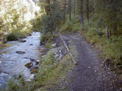 Palisades Creek Trail above the campground and equestrian parking area. Photo by USDA Forest Service Staff.