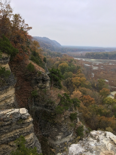 The upper portion of the trail travels atop the statuesque limestone bluffs. Photo by Donna Kridelbaugh.