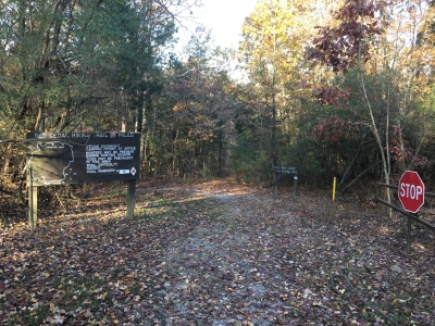 Red Cedar Hiking Trail entrance located in Giant City Campground. Photo by Donna Kridelbaugh.