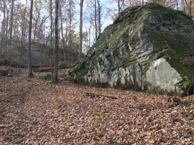 The trail passes by giant sandstone boulders, which are the namesake of the park. Photo by Donna Kridelbaugh.