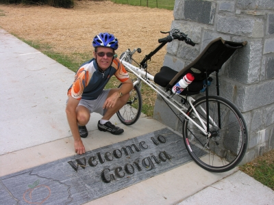 The State Line Gateway welcomes trail users to the State of Georgia on the Silver Comet Trail, near Cedartown, GA. Photo by Don Sullivan.