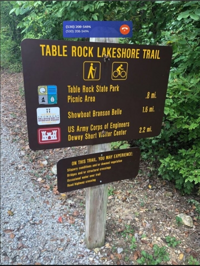 Table Rock Shoreline Trail sign.