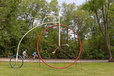 Oversize bicycle trailside art built and installed by a local small business near Seven Valleys. Photo by David Brown.