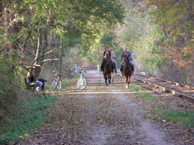 Equestrians and cyclists share the Heritage Rail Trail. Photo by Carl R. Knoch.