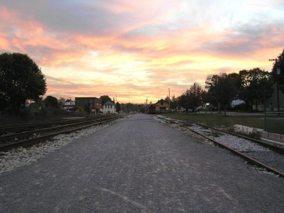 Sunset over New Freedom on the Heritage Rail Trail. Photo by Carl R. Knoch.