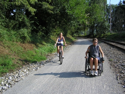 ADA compliance accommodates all user types on Heritage Rail Trail. Photo by Carl R. Knoch.