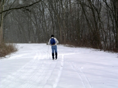 Cross-country skiing on the Lower Trail.