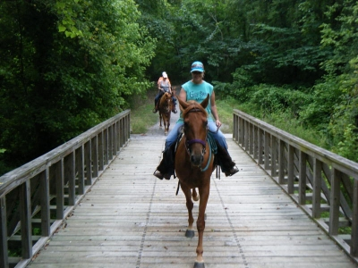 Horseback riders crossing bridge. Photo by Kari Kirby.