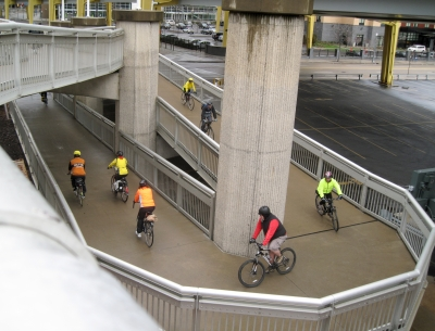 Icycle Bicycle Ride descending from Duquesne Bridge. Photo by Mary Shaw.
