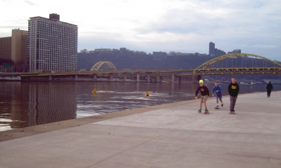 Skateboarders by the stadium. Photo by Mary Shaw.