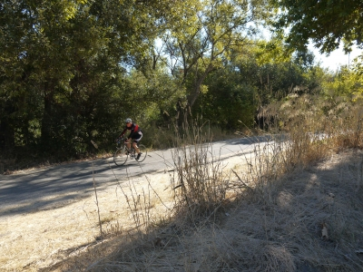 Bicyclist enjoying the river side trail between Downtown San Jose and Silicon Valley employment. Photo by Yves Zsutty.
