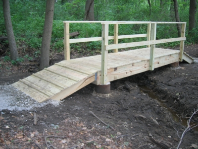 Eagle Scout project added a need bridge over an intermittent stream along the Croft Nature Trail. Photo by Lew Gorman III.