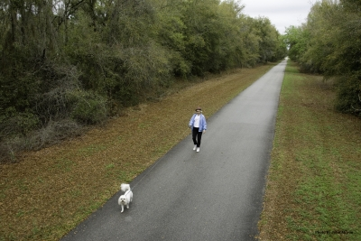 Dog walker on trail. Photo by FL Office of Greenways.