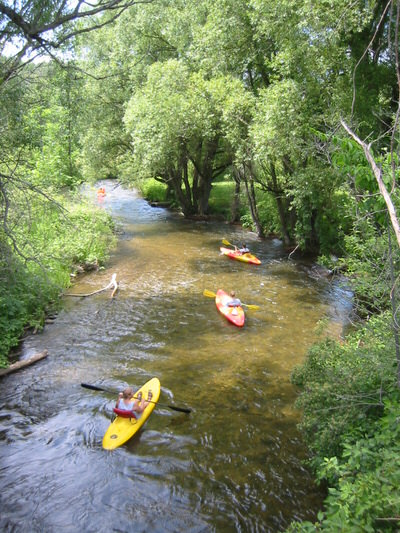 Kayakers seen from a bridge on the NCST