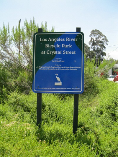 LA River Trail Sign at Crystal Street Entrance
