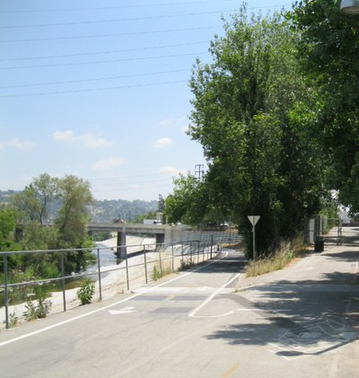 LA River Trail Entrance at Crystal Street, Facing