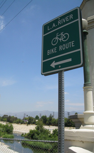 LA River Trail Sign at Glendale Boulevard Entrance