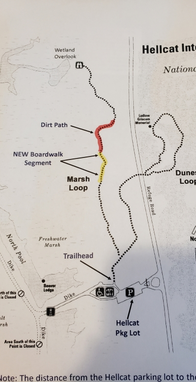 Map of New Marsh Loop Segment of the Hellcat Interpretive Trail Opened August 2019. Photo by Andy Griffith.