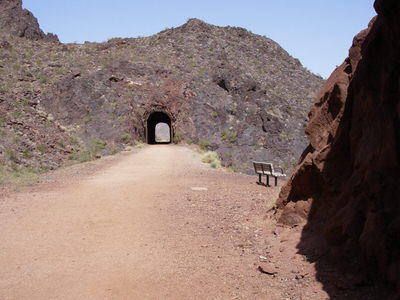 Historic Railroad Trail and one of five tunnels.