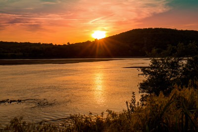 Sunset view from east bank of the Arkansas River.