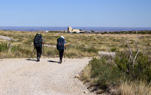 View of Guadalupe Ridge Trail as hikers near Carlsbad Caverns National Park, New Mexico. This is an excellent opportunity for hikers to stop in to visit the Caverns, use restroom facilities, dine at the park cafeteria, and use watering stations.