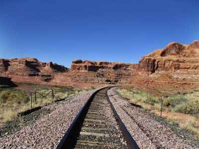 Fast photo while crossing railroad tracks on Corona Arch Trail. Photo by Valerie A. Russo.