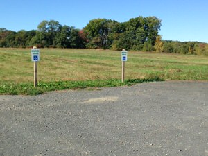 Accessible parking spaces are provided at the head of the Fort River Trail.