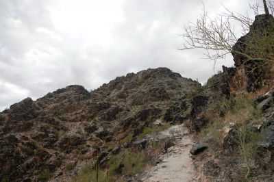 Piestewa Peak - almost to the top, last section. Photo by Jim Walla.