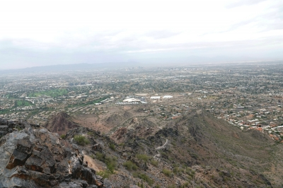 Piestewa Peak - view of Phoenix from the peak - trail is in the foreground. Photo by Jim Walla.
