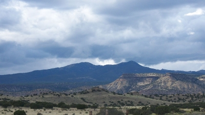 Mount Taylor as seen from the village of Encinal, New Mexico. Photo by Charles Xavier/wiki.