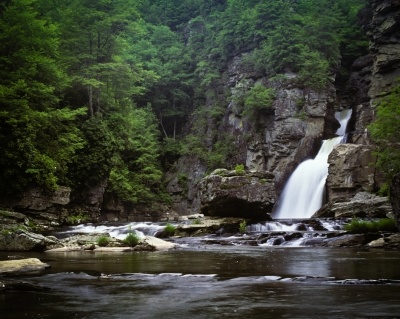 Linville Falls from plunge pool. Photo by Bryan Hodges.