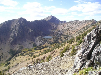 HIgh mountain Twin Lakes in distance along the rugged Elkhorn Crest Trail. Photo by USDA Forest Service.