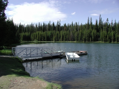 A metal and wooden dock and a small white boat floating beside in shallow water. Photo by USFS.