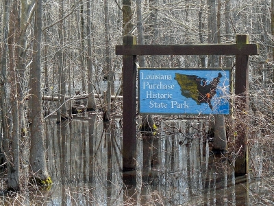 Sign marking entrance to Louisiana Purchase State Park. Photo by Brandonrush wiki.